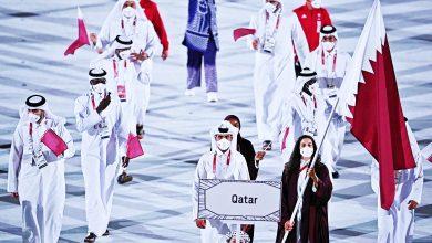 صورة العلم القطري يرتفع خفّاقاً في حفل افتتاح أولمبياد طوكيو